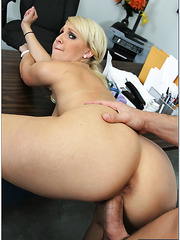 Destiny Jaymes demonstrates her big round ass and tastes a yummy dagger
