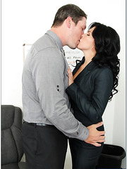 Petite Danica Dillon undressing in office and tasting a yummy dagger
