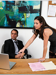 Casey Calvert showing her skills and riding a big dagger on the table