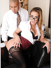 Fancy Kennedy Leigh shows wet trimmed pussy and gets nailed in her office