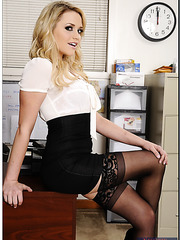Curious Mia Malkova posing in black stockings and spreading tight sissy