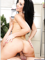 Jayden Jaymes enjoying a delicious wiener and getting nailed on the table