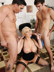 Big-boobed Alexis Ford making her pussy wet and swallowing a delicious rod