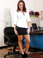 Skinny Lily Love having fun in office and reaching sexual peak at the end