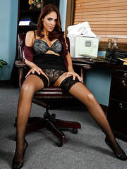 Jasmine Caro playing with her new boss in adult games and sucking his dick