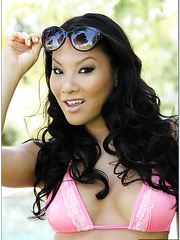 Gorgeous Asian slut Asa Akira posing outside and tasting a yummy pecker