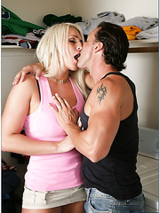 Nice milf Sadie Swede loves swallowing her neighbor's big and yummy dagger