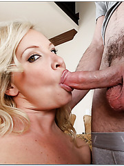 Skillful milf Rachel Love showing tattooes and tasting a new yummy wiener