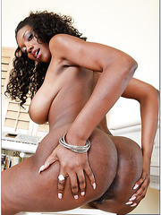 Dazzling ebony Nyomi Banxxx adores swallowing and riding white peckers