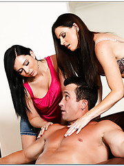 Angell Summers and India Summer making a sandwich blowjob to their friend