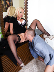 Demonic milf Nikki Benz fingering pussy and getting ready to be nailed