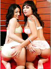 Charming lesbians Elena Rivera and Avy Lee Roth playing with sex toys
