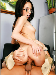 Alluring cutie Veronica Jett needs to masturbate and to fuck with her boss
