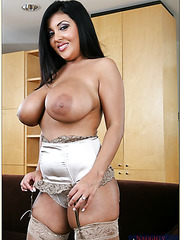 Chubby cutie Jaylene Rio showing her melons and pleasing a naughty boy