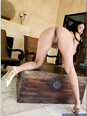 Winning milf Sophia Lomeli playing with her husband in tough games on bed