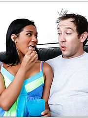 Carnal wife Emy Reyes enjoys delicious load and wants to be drilled hard