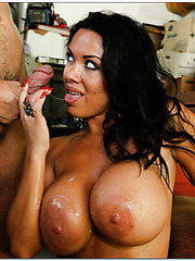 Slutty chick Sienna West adores working with shaved vagina and fucking