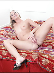 Passionate blonde Leah Wilde loves sucking tasty wieners and making titjobs