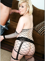 Hot blonde in black stockings Page Morgan trying to make her boyfriend pleased