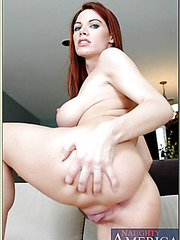 Charming hooker Roxetta teasing herself and preparing pussy for a big cock