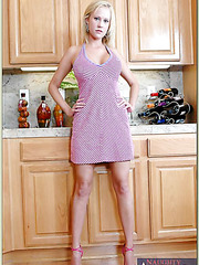 Carnal blonde Carly Parker getting naked and fucking right at the kitchen