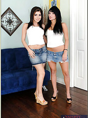 Naughty lesbians Persia DeCarlo and Sativa Rose tasting a yummy pecker