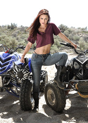 Karlie Montana demonstrates her trimmed pussy and sexy tits at the quad cycles