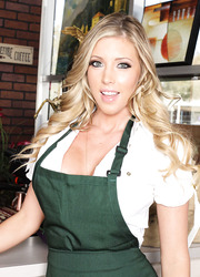 Sumptuous babe Samantha Saint removes her sexy uniform and shows off real treasures