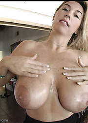 Nasty blonde Wifey playing with her big tits and taking off lingerie