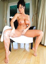 Snazzy babe Lisa Ann oiling herself and pounded hard in all possible holes