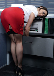 Office woman Chanel Preston spends this lunch break with real delight