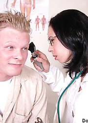 Naughty doctor Jillian doing her best to please young handsome fellows