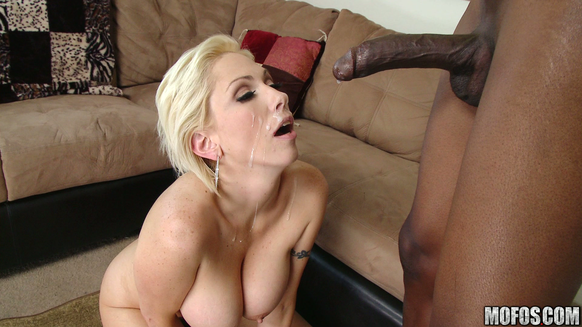 Mature Blonde Swallows A Huge Cock