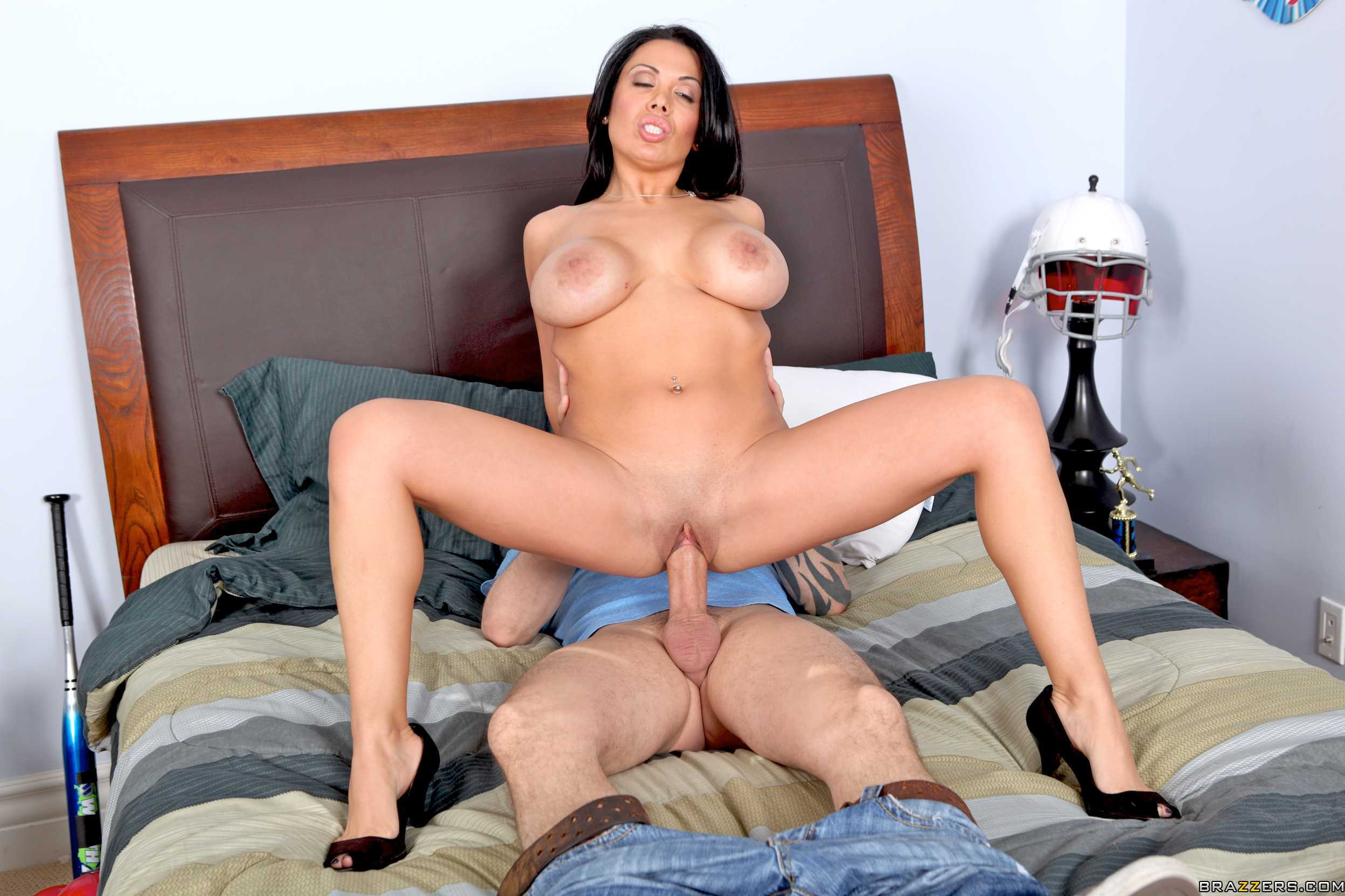 Awesome brunette is seduced by big white 5