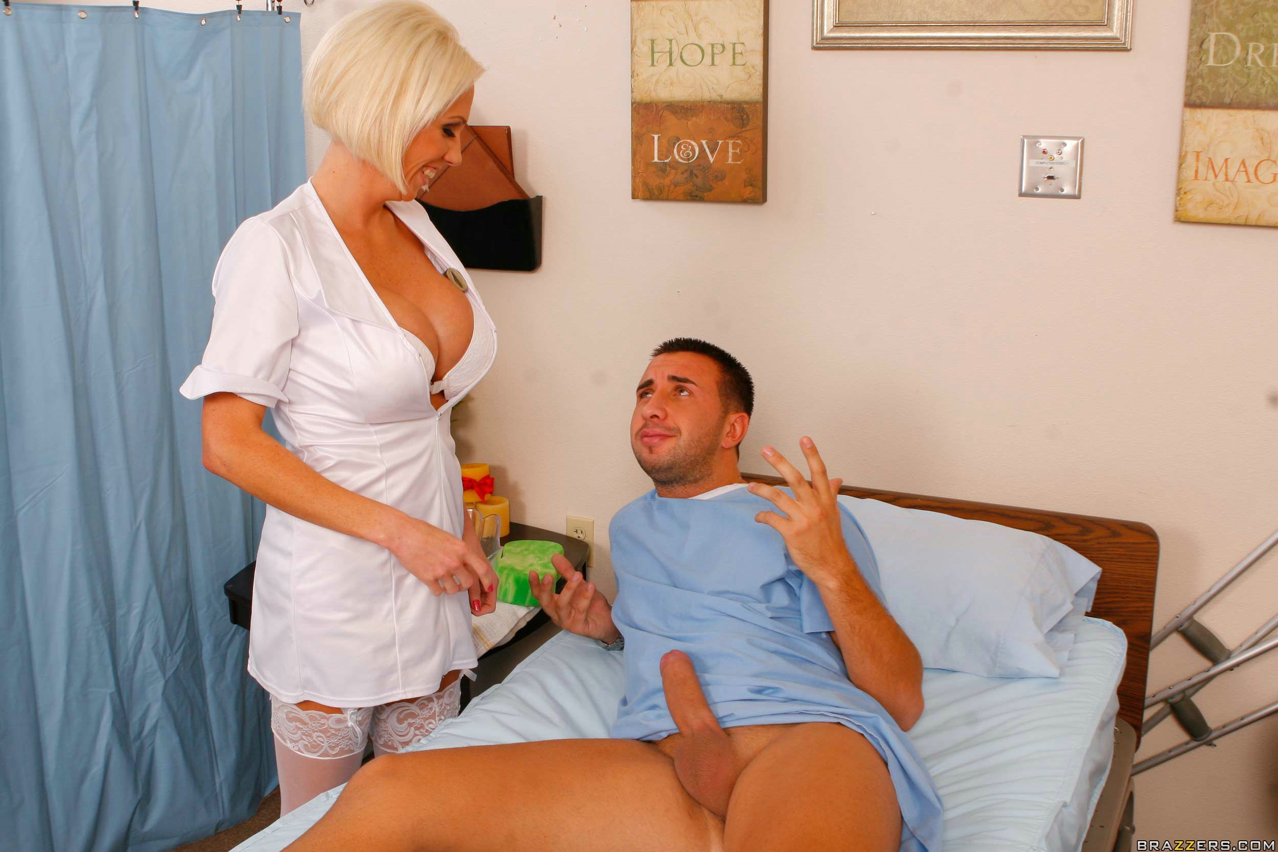 Pretty nurse with big boobs fucking in the hospital in shiny red boots 8